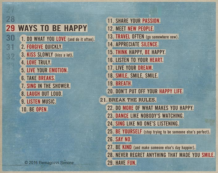 29 Ways to be happy